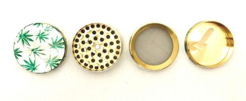 Grinder Gewürzmühle Hanfblatt GOLD Metall 4.teilig 50mm