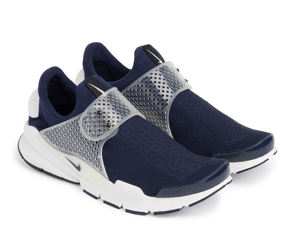 confortable et beau nouveau nike sock dart kjcrd midnight bleu blanc marine en noir et blanc bleu des chaussures de course à l'aise ce8556