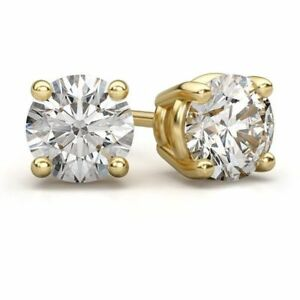 4-00-Ct-Solitaire-Diamond-Earring-Stud-14K-Solid-Yellow-Gold-Round-Cut-Studs