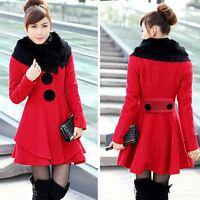 Women Slim Rabbit Fur Collar Warm Winter Woolen Long Jacket Parka Coat Outwear