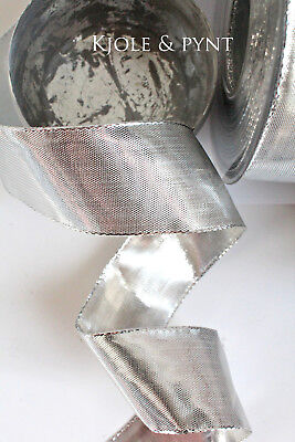 feines Dekoband Glitzer Lurex Silber Glanz Draht 40mm Tischband Deko 0,50€//m