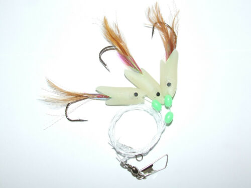 5 Packs Eared Pheasant Feather Rig 3 Crochet Taille 7//0 Pêche morue bass Maquereau Leurre Daylite