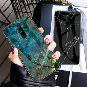 For-OnePlus-7-Pro-7-Marble-Pattern-Tempered-Glass-Back-Rubber-Bumper-Case-Cover