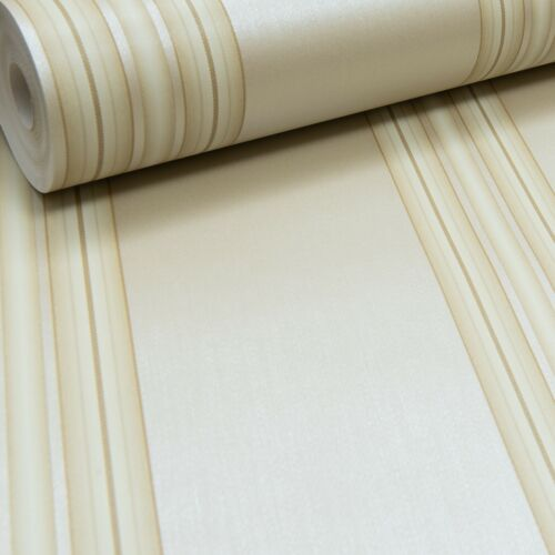 Rasch Metallic Gold Light Beige Stripe Striped Paste The Wall Wallpaper Textured
