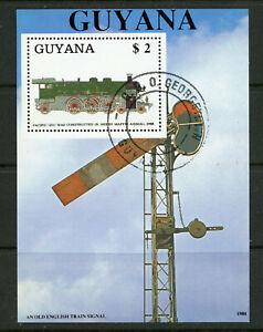 Steam Locomotive Semaphore Signal CTO Souvenir Sheet 1988 Guyana Railroad