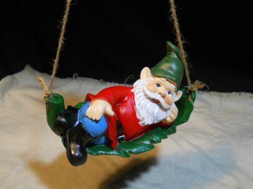 New ~ Leprechaun Hanging Garden Gnome on Leaf ~ Resin