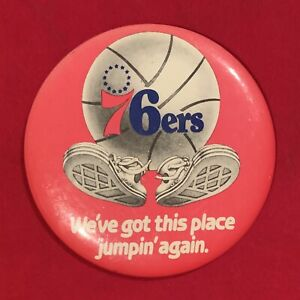 Beautiful-Vintage-1970-039-s-Philadelphia-76ers-NBA-4-inch-Pin-Button-Old-Sixers