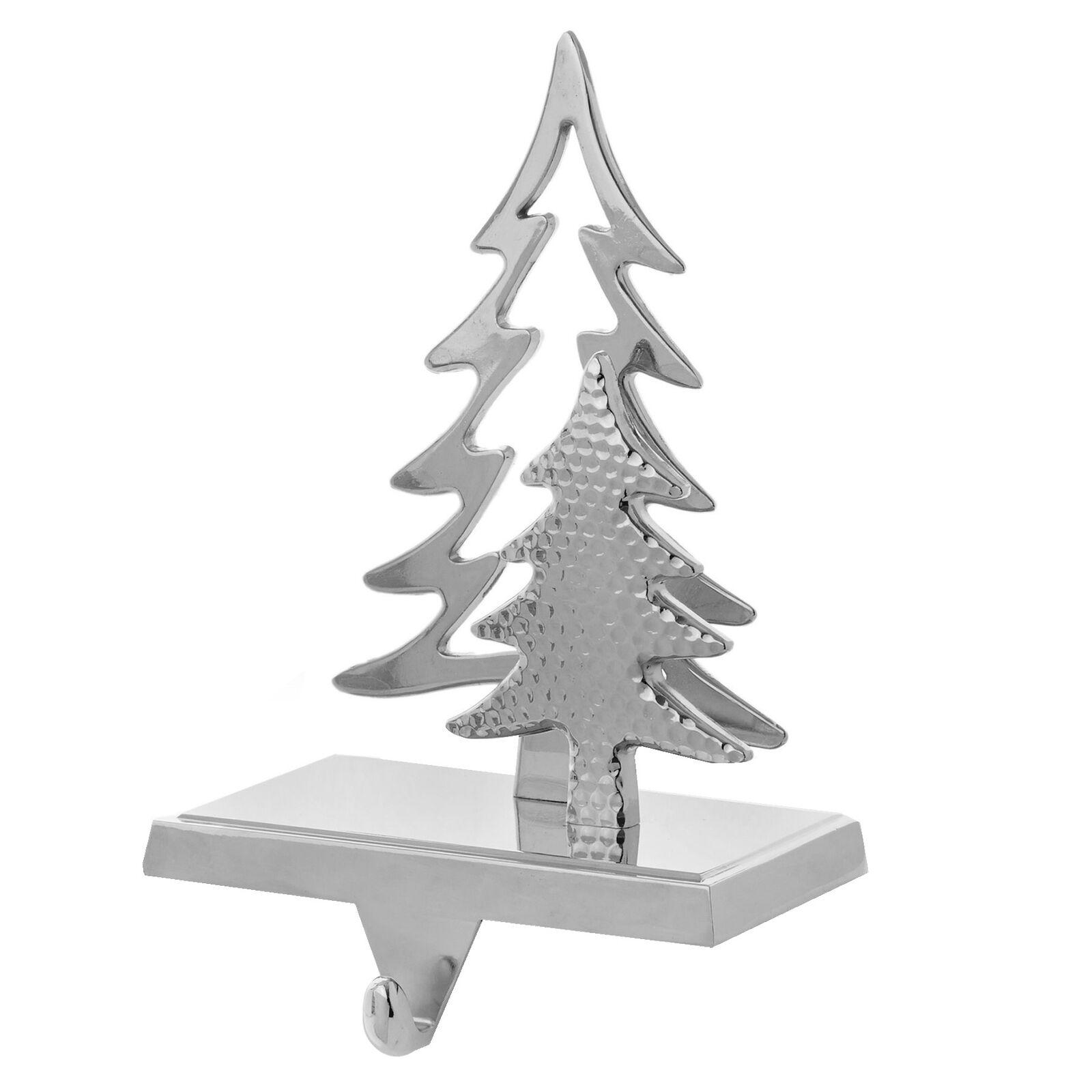 White Silver Foil Cast Iron Fir Tree Stocking Hanger Holder