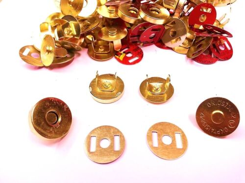 CraftbuddyUS 20 Sets 18mm Gold Magnetic Fastner Snaps Clasps Bags Sewing Buttons