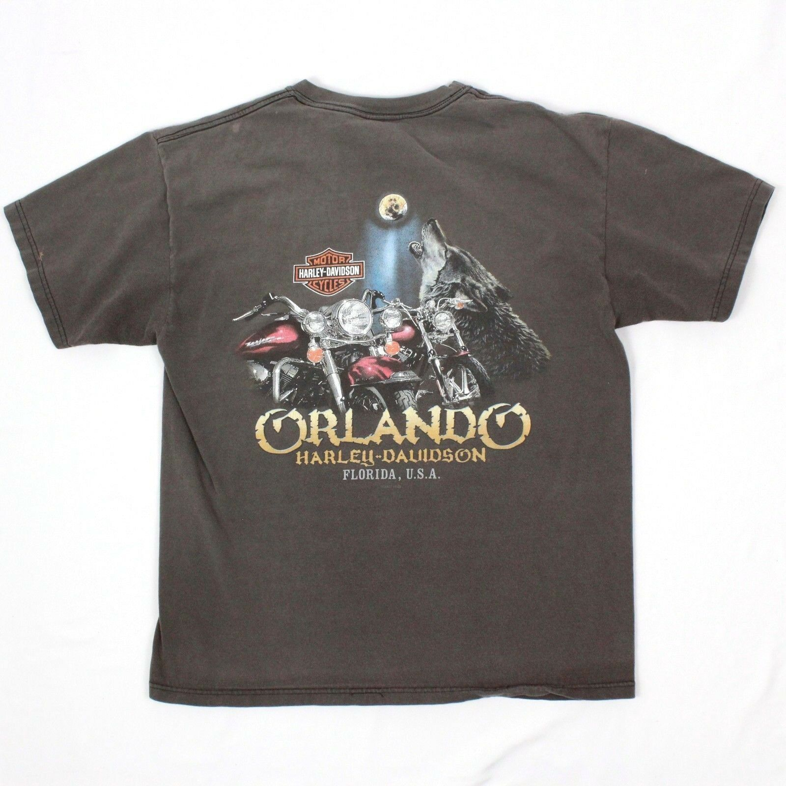 Harley Davidson Orlando Florida Tee Size Large Men L Two Sided Tshirt USA MADE