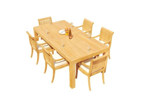 """A-Grade Teak 7pc Dining 86"""" Canberra Rectangle Table 6 Giva Arm Chairs Set Patio 9780812212433"""