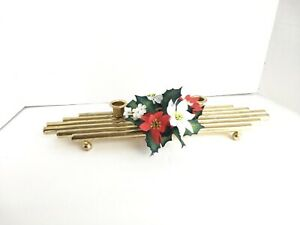 Christmas Centerpiece Candle Holder Floral Holiday Vintage Brass