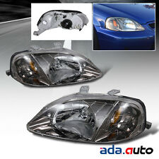 1999 2000 Honda Civic 2/3/4Dr [JDM Style] Titanium Chrome Headlights Lamps Set