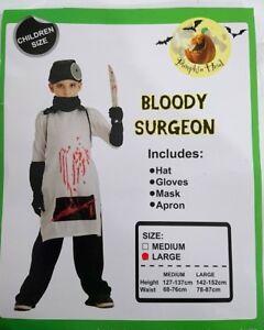 NEW-Kids-Boys-Girls-Halloween-Costume-Bloody-Surgeon-Costume-Party-Dress-Up