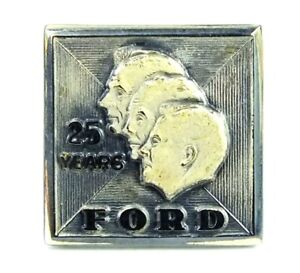 Vintage FORD 25 Years GOLD SERVICE EMPLOYEE AWARD 10K Pinback PIN With BOX