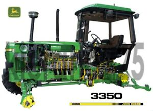 A3-John-Deere-Tractor-3350-Cutaway-Agriculture-Wall-Poster-Brochure-Picture