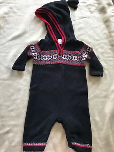 91068216f71 Hanna Andersson Black Fair Isle Hooded Warm Knit Longall - 60cm (6-9 ...