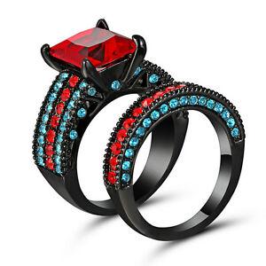 Size-7-Jewelry-10kt-black-gold-filled-Princess-Ruby-women-Wedding-Ring-set-gift