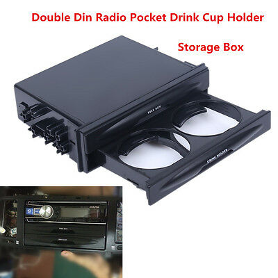 Universal Car Autos Black Double Din Radio Pocket Drink Cup Holder Storage Box