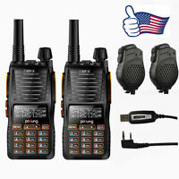 2 Baofeng Gt-5 V/uhf Dual Ptt Two Way Radio Walkie Talkie + 2 Speaker + Cable on sale