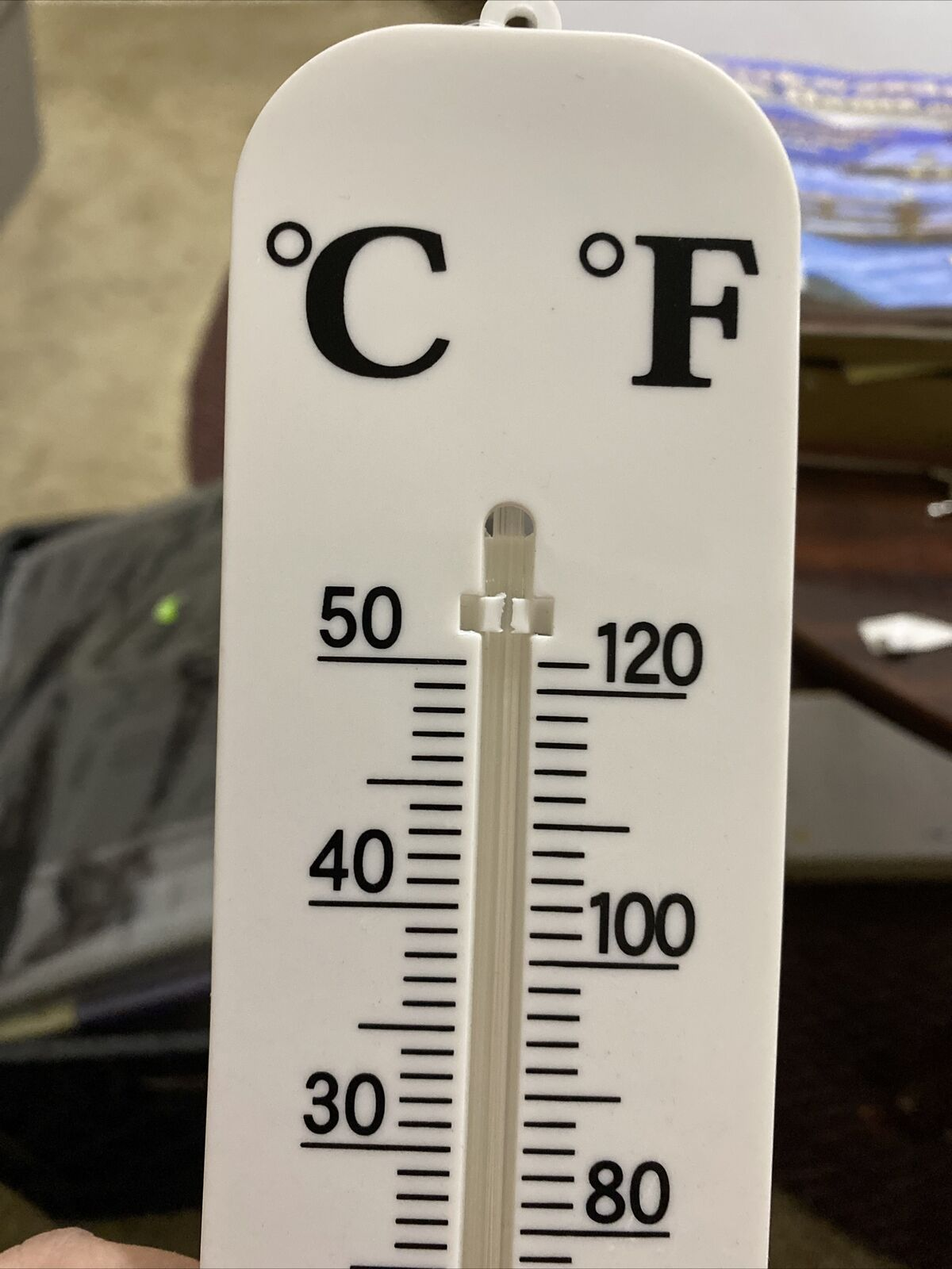 """15 1/2"""" VERTICAL INDOOR OUTDOOR THERMOMETER LARGE NUMBERS WALL MOUNTED F°/C°"""