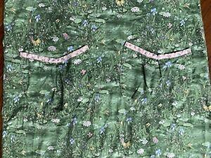 Vintage-Floral-Smock-Apron-Butterfly-Fern-Pond-Lilypad-Pockets-Crossover-Back-L