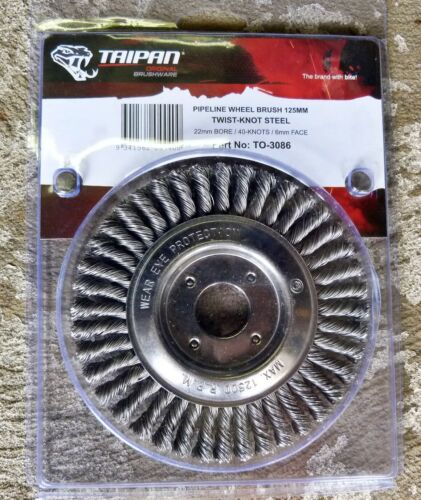 TAIPAN Pipeline Wheel Brush TO-3086 125mm X 6mm Twist-knot Mild-steel Wire