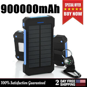 Portable-Solar-Panel-900000mAh-Power-Bank-External-Waterproof-Battery-Charger