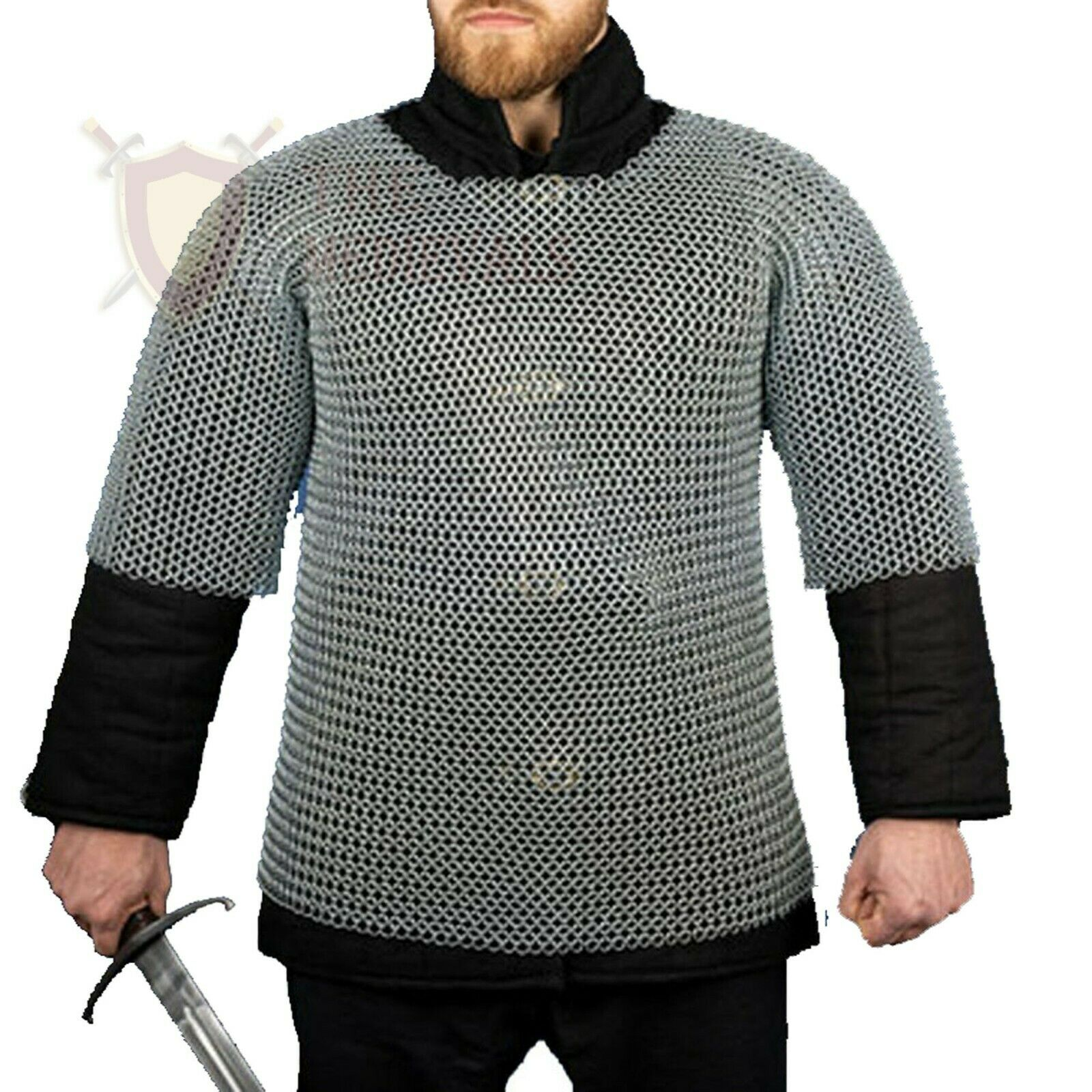 THE MEDIEVALS Chainmail Haubergeon Half Sleeve Shirt Mild Steel 10 MM ID Butted