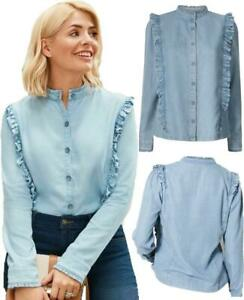 NEW-M-amp-S-Holly-Willoughby-Collection-Light-Blue-Denim-Ruffle-Shirt-Blouse-8-22