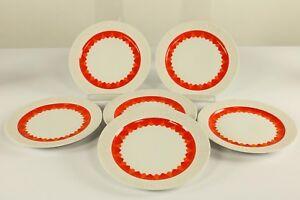 6-x-Kuchen-Teller-19-3-cm-Thomas-Arcta-Orange-Porzellan-Service