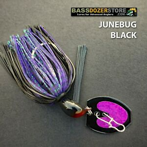 Bassdozer-BLADED-jigs-JUNEBUG-BLACK-SNAGLESS-bass-jig