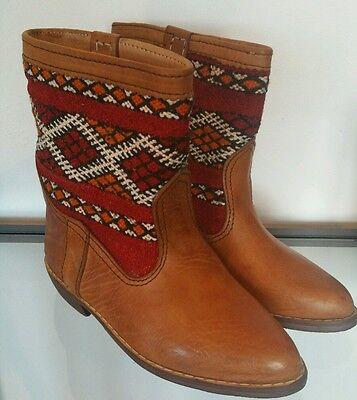 Señoras Botas Vintage Cuero Tostado tobillo tejido vaquero étnico boho