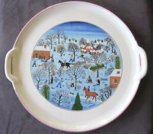 "Villeroy and Boch Naif Christmas 12"" Handled Cake Plate ..."