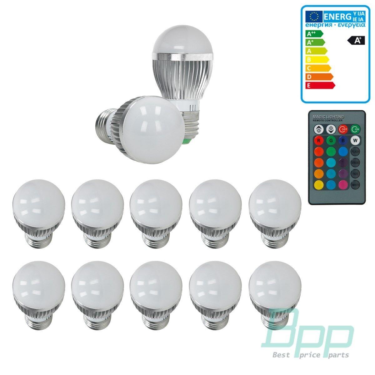 10 x E27 LED Spot Lampe Leuchte Licht Farbwechsel 24 KEY Fernbedienung RGB 3W