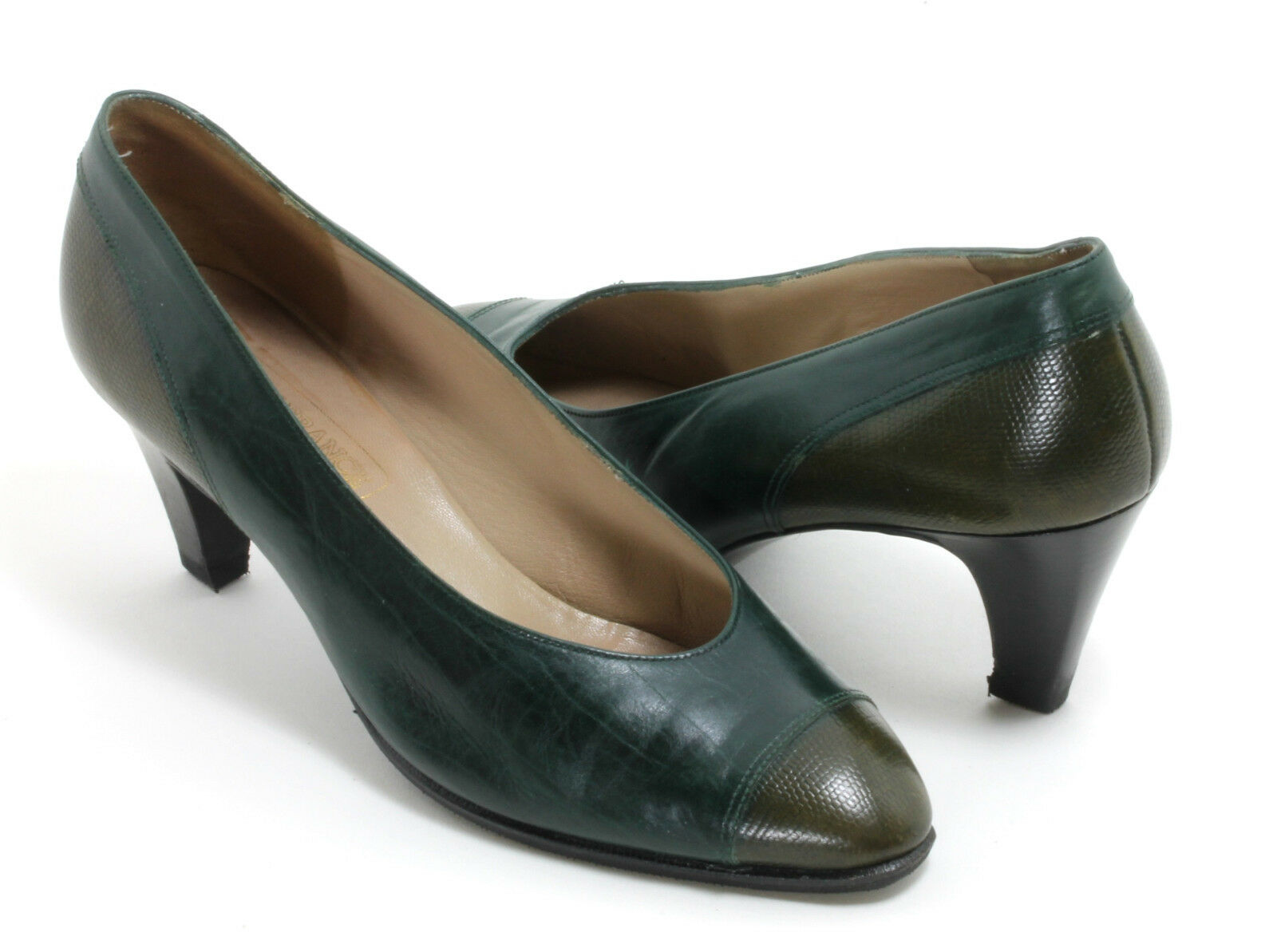 Elegant Vintage Escarpins chaussures femmes chaussures Basses BALLY FRANCE RIVOLI vert pétrole 38