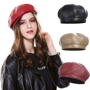 Plain Fashion Winter Caps Ladies s Leather Cap Beret Hats Autumn Hat ... 3e4057725aa