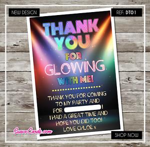 Anniversaire Disco Remerciement ou Invitations Fête invite Glow danse UV Fluo
