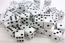 "WHOLESALE LOT OF 50 WHITE DICE BLACK PIPS P6 SIDED D6 DIE GAME SIX 5/8""16mm"