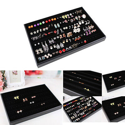 120 Compartment Earring Jewelry Necklace Tray Organizer Display Case Box Storage