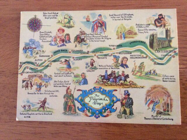 Unused Map Postcard of The Pilgrim's Way, Kent by Elgate