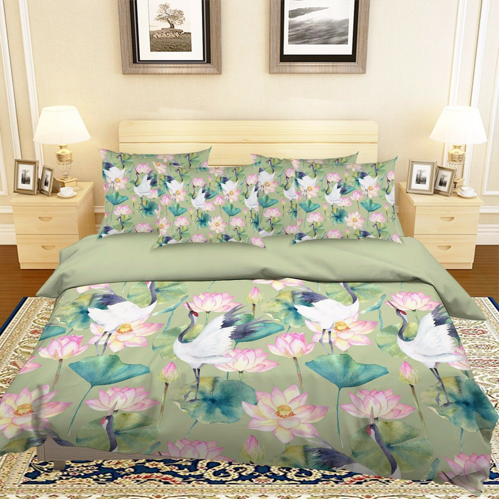 3D Egret Lotus Pond 512 Bed Pillowcases Quilt Duvet Cover Set Single Queen CA