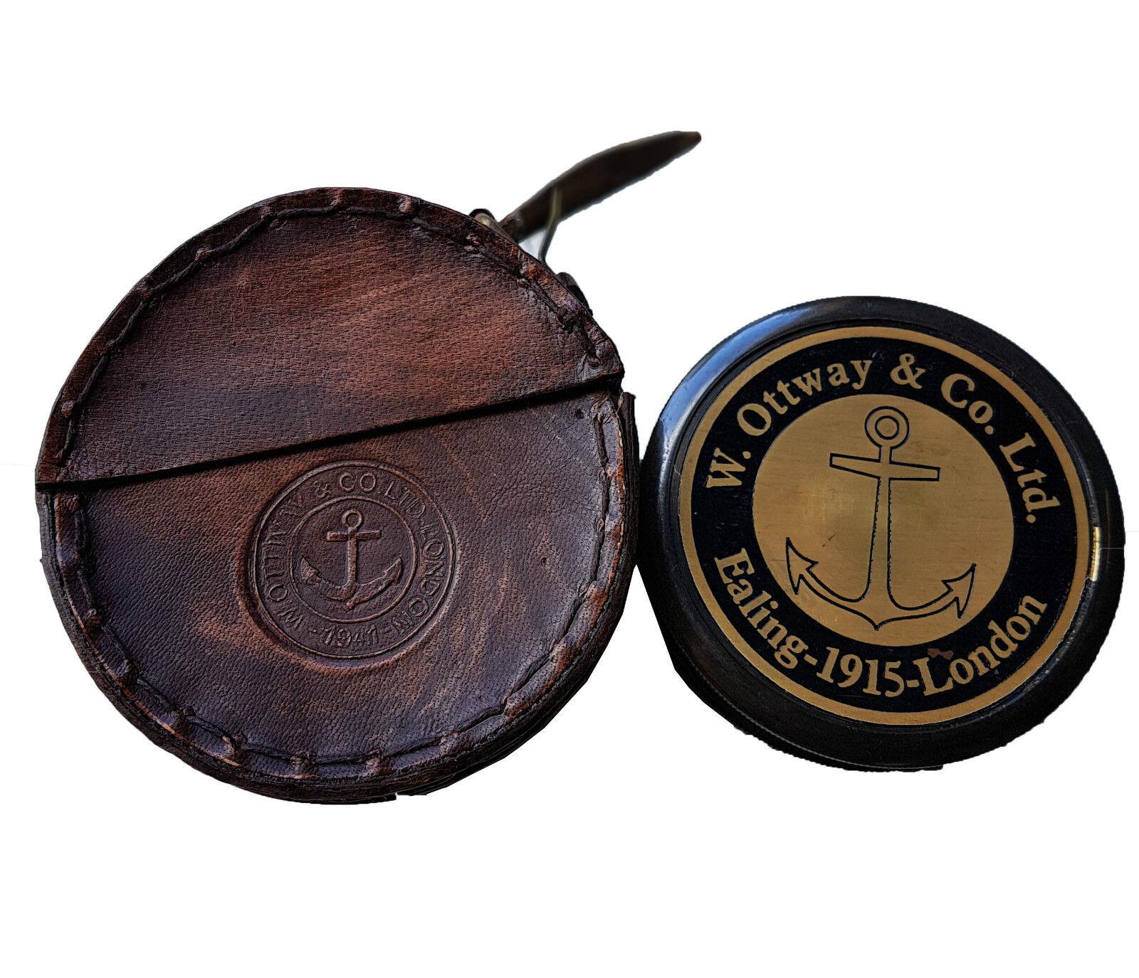 Style Antique W Ottway's de collection en laiton Boussole Boussole Boussole étui en cuir Robert Frost 628a2d