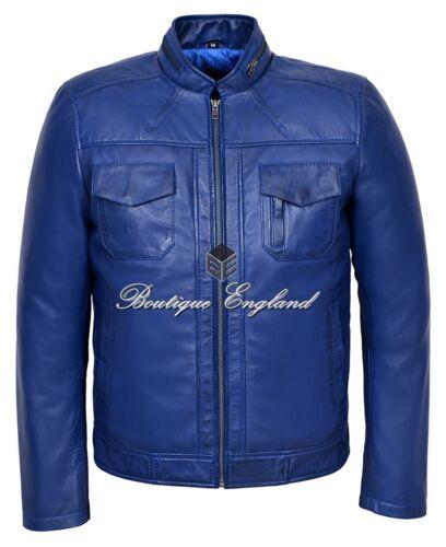 Artilleur homme short bleu Bomber Biker Motorcycle Style en Cuir Véritable Veste 7861