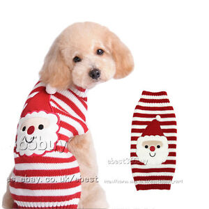 Pet dog christmas sweater puppy cat santa claus striped knit xmas