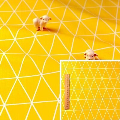 160cm YELLOW Meter//Fat Quarter//FQ Cotton Fabric Geometric Triangle Sewing Craft