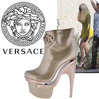 Versace Triple Platform Rose Gold Leather Bootie Boots 40.5 - 10.5