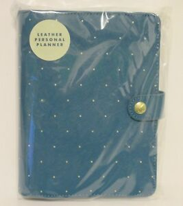 New-Kikki-K-OCEAN-Blue-Medium-Personal-Textured-Leather-Day-Planner-Gold-Dots