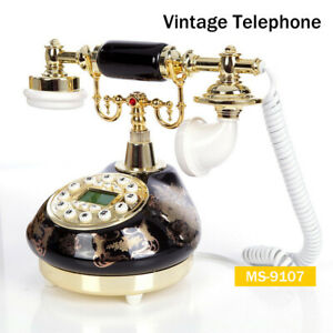 MS-9107 Ceramic Retro Corded Telephone Desktop Vintage Phone Caller ID for Home