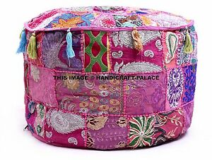 Pink-Patchwork-Embroidered-Round-Indian-Pouf-Ottoman-Foot-Stool-Moroccan-pouffe